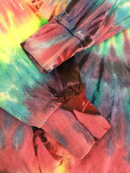 [4] 古着 90s USA製 カラフル タイダイ ロング ヘビーウェイト Tシャツ ロンT XL 古着