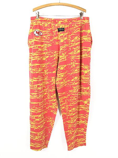[1] 古着 80s USA製 ZUBAZ NFL Kansas City Chiefs 有刺鉄線 総柄 イージー パンツ テーパード XL 古着