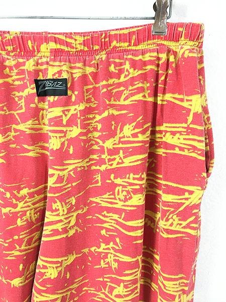 [2] 古着 80s USA製 ZUBAZ NFL Kansas City Chiefs 有刺鉄線 総柄 イージー パンツ テーパード XL 古着