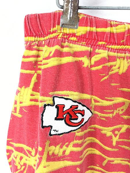 [3] 古着 80s USA製 ZUBAZ NFL Kansas City Chiefs 有刺鉄線 総柄 イージー パンツ テーパード XL 古着