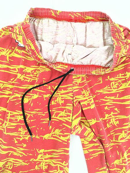 [7] 古着 80s USA製 ZUBAZ NFL Kansas City Chiefs 有刺鉄線 総柄 イージー パンツ テーパード XL 古着