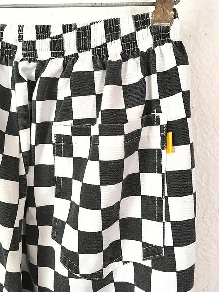 [5] 古着 90s 黒白 チェッカー 総柄 コットン イージー シェフ パンツ テーパード M 古着