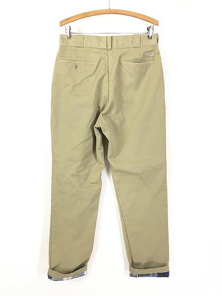 [3] 古着 90s USA製 Dickies 2874 チェック ネル ライナー オールド ワーク チノ パンツ W32 L31 古着