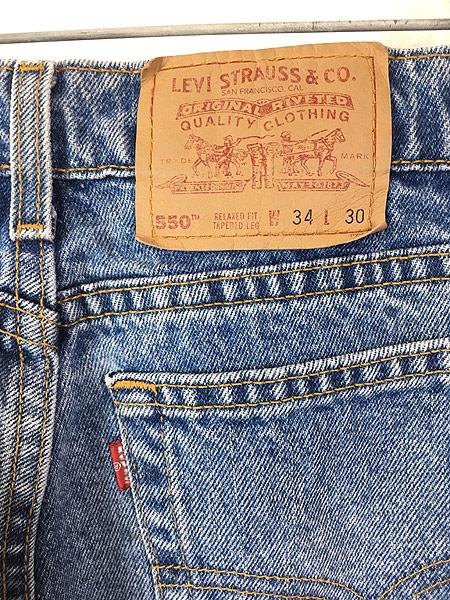 [6] 古着 90s USA製 Levi's 550 ブルー デニム パンツ ジーンズ テーパード W33 L30 古着