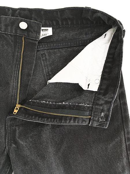 [6] 古着 90s USA製 Levi's 550 ブラック デニム パンツ ジーンズ テーパード W33 L30 古着