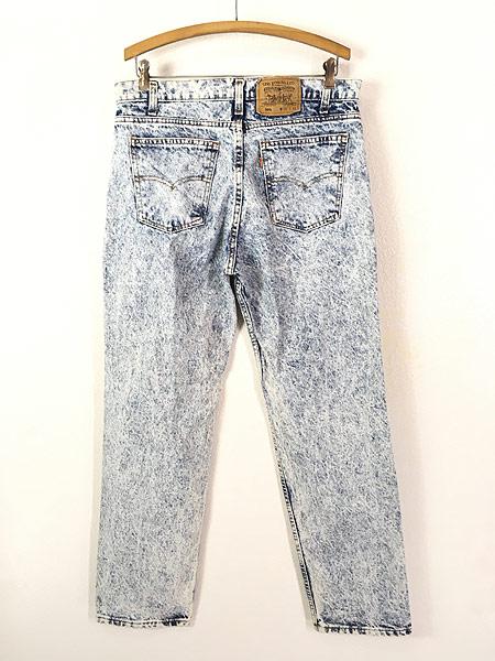 [3] 古着 90s USA製 Levi's 506 アシッド ケミカル デニム パンツ ジーンズ スリム W35 L31 古着