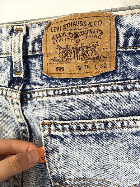 [4] 古着 90s USA製 Levi's 506 アシッド ケミカル デニム パンツ ジーンズ スリム W35 L31 古着
