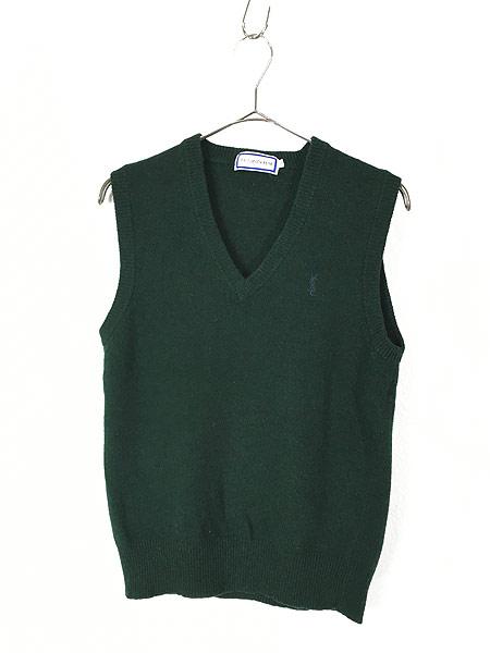[1] 古着 80s Yves Saint Laurent サンローラン ワンポイント ウール ニット ベスト M ブランド 古着