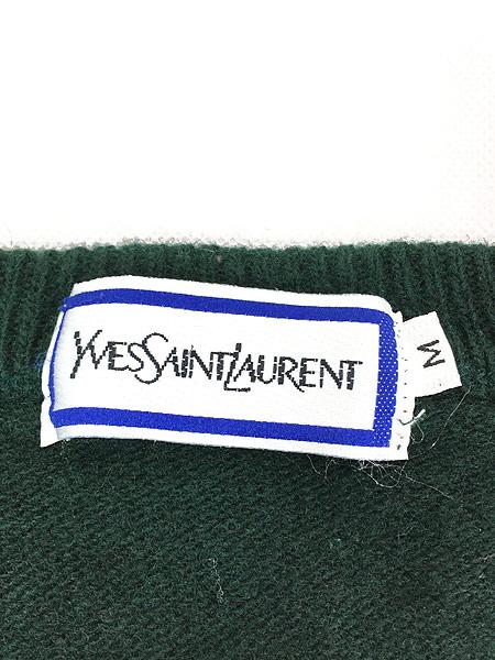 [4] 古着 80s Yves Saint Laurent サンローラン ワンポイント ウール ニット ベスト M ブランド 古着