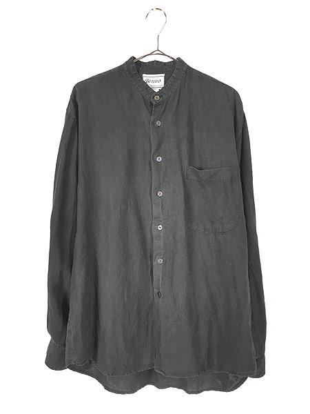 [1] 古着 90s Bruno 100% ブラック リネン バンドカラー シャツ M デザイン 古着