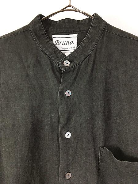 [2] 古着 90s Bruno 100% ブラック リネン バンドカラー シャツ M デザイン 古着