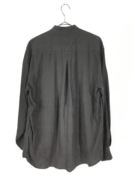 [3] 古着 90s Bruno 100% ブラック リネン バンドカラー シャツ M デザイン 古着