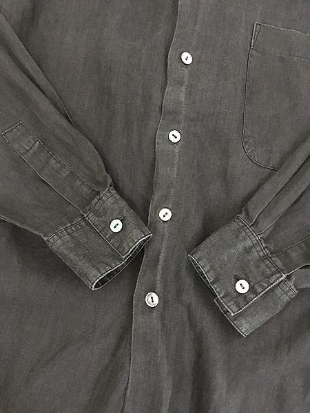 [4] 古着 90s Bruno 100% ブラック リネン バンドカラー シャツ M デザイン 古着