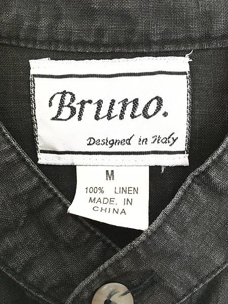 [5] 古着 90s Bruno 100% ブラック リネン バンドカラー シャツ M デザイン 古着