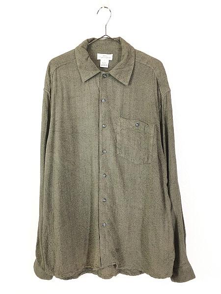 [1] 古着 90s axis ゴマ塩 100% レーヨン シャツ L デザイン 古着