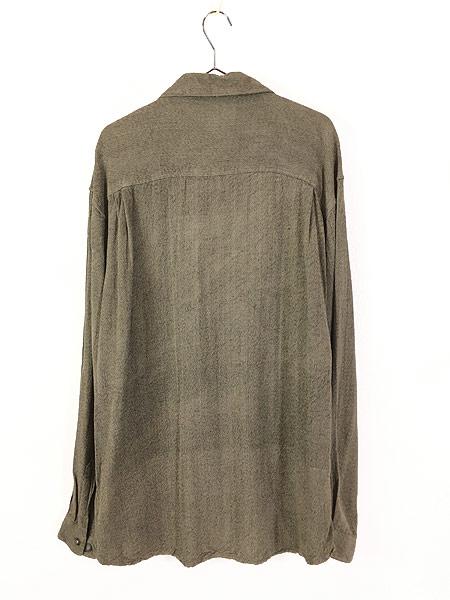 [3] 古着 90s axis ゴマ塩 100% レーヨン シャツ L デザイン 古着