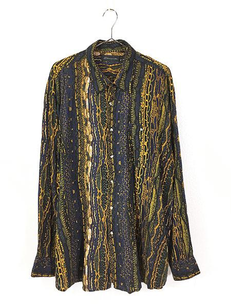 [1] 古着 90s D'amante ベビ スネーク 総柄 100% レーヨン シャツ 柄シャツ XL デザイン 古着