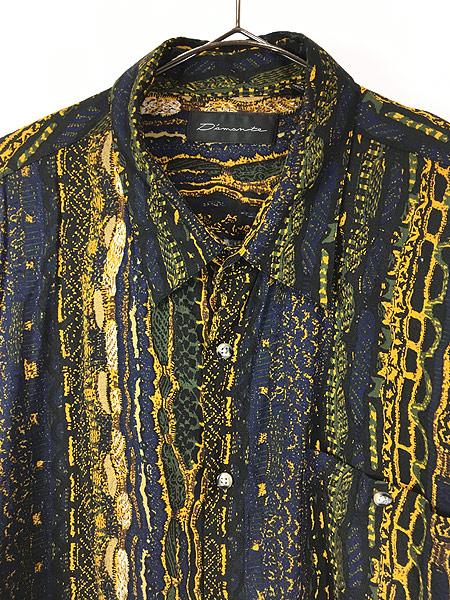 [2] 古着 90s D'amante ベビ スネーク 総柄 100% レーヨン シャツ 柄シャツ XL デザイン 古着