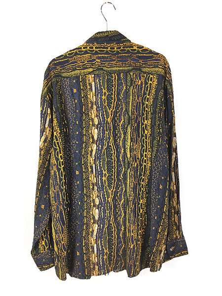 [3] 古着 90s D'amante ベビ スネーク 総柄 100% レーヨン シャツ 柄シャツ XL デザイン 古着