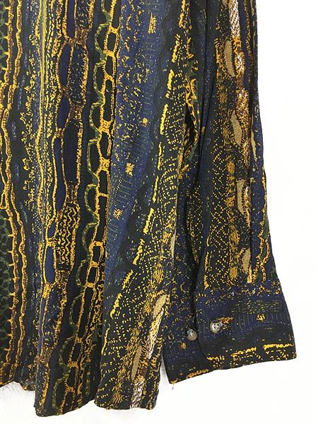 [4] 古着 90s D'amante ベビ スネーク 総柄 100% レーヨン シャツ 柄シャツ XL デザイン 古着