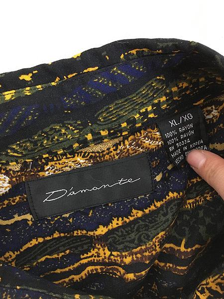 [5] 古着 90s D'amante ベビ スネーク 総柄 100% レーヨン シャツ 柄シャツ XL デザイン 古着