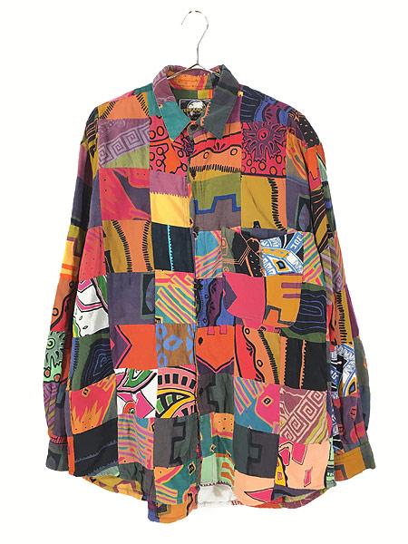 [1] 古着 90s 幾何学 ポップアート 総柄 パッチワーク シャツ 柄シャツ M デザイン 古着