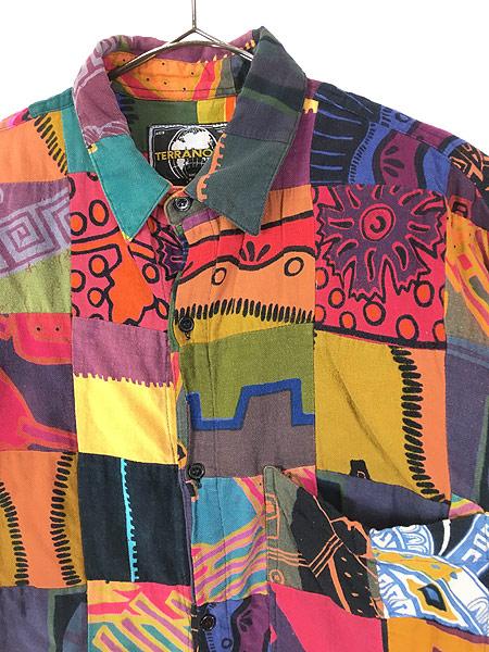 [2] 古着 90s 幾何学 ポップアート 総柄 パッチワーク シャツ 柄シャツ M デザイン 古着