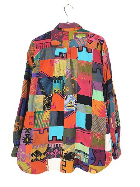 [4] 古着 90s 幾何学 ポップアート 総柄 パッチワーク シャツ 柄シャツ M デザイン 古着