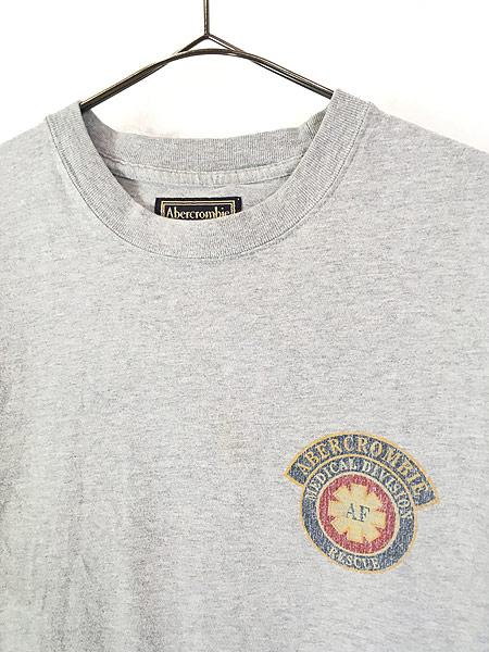 [2] 古着 90s Abercrombie&Fitch 「Medical Division」 アーム ロゴ 長袖 Tシャツ ロンT L 古着