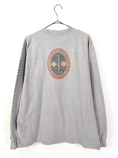 [3] 古着 90s Abercrombie&Fitch 「Medical Division」 アーム ロゴ 長袖 Tシャツ ロンT L 古着