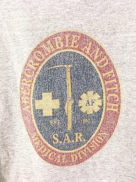 [4] 古着 90s Abercrombie&Fitch 「Medical Division」 アーム ロゴ 長袖 Tシャツ ロンT L 古着
