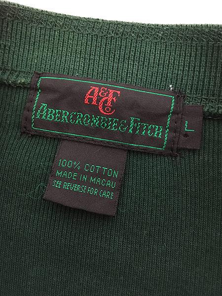 [5] 古着 80s Abercrombie&Fitch 段リブ リブ編み ヘンリーネック シャツ トップス T L 古着