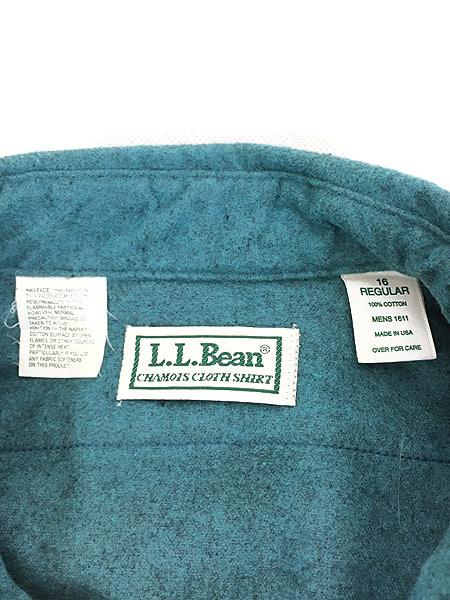 [6] 古着 90s USA製 LL Bean シャモアクロス フランネル シャツ ネルシャツ レアカラー!! 16 古着
