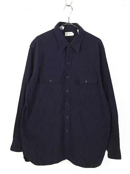[1] 古着 70s LL Bean 筆記体タグ シャモアクロス フランネル シャツ ネルシャツ 17 1/2 古着