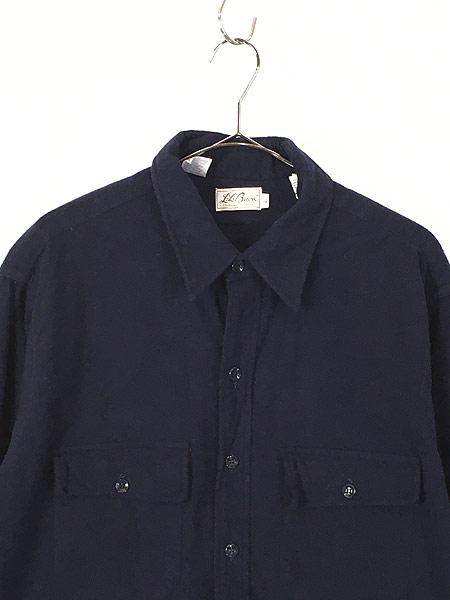 [2] 古着 70s LL Bean 筆記体タグ シャモアクロス フランネル シャツ ネルシャツ 17 1/2 古着