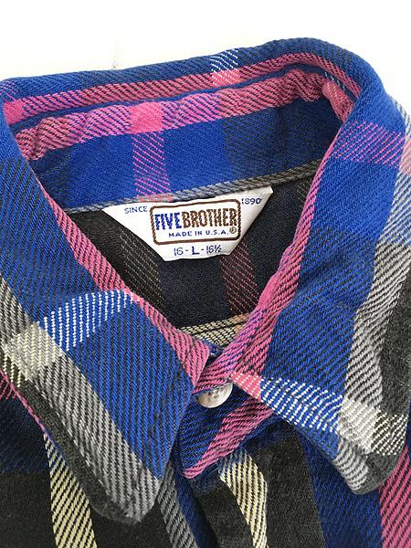 [5] 古着 80s USA製 FIVE BROTHER ピンク チェック ヘビー フランネル シャツ ヘビネル L 古着