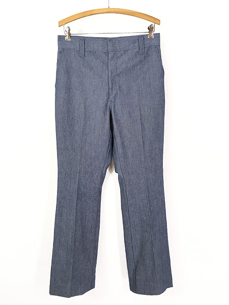 [1] 古着 70s Wrangler シンチバック シャンブレー デニム スラックス パンツ フレア W31 L32 古着