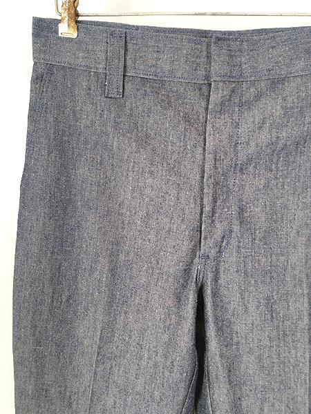 [2] 古着 70s Wrangler シンチバック シャンブレー デニム スラックス パンツ フレア W31 L32 古着