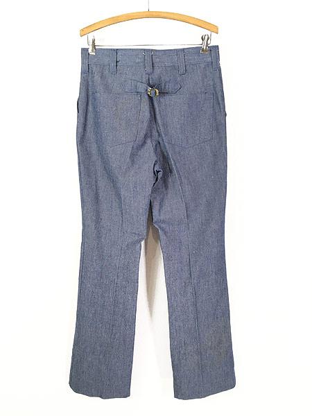 [3] 古着 70s Wrangler シンチバック シャンブレー デニム スラックス パンツ フレア W31 L32 古着