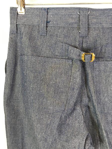 [4] 古着 70s Wrangler シンチバック シャンブレー デニム スラックス パンツ フレア W31 L32 古着