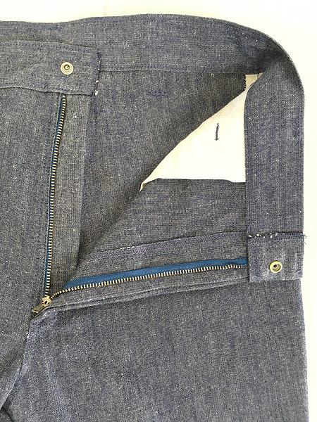 [6] 古着 70s Wrangler シンチバック シャンブレー デニム スラックス パンツ フレア W31 L32 古着