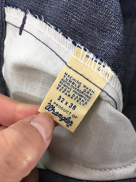 [7] 古着 70s Wrangler シンチバック シャンブレー デニム スラックス パンツ フレア W31 L32 古着