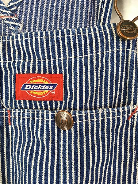 [3] 古着 90s USA製 Dickies ヒッコリー ストライプ デニム ワーク オーバーオール W37 L31 美品!! 古着
