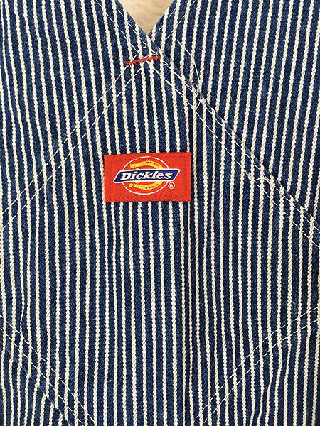 [5] 古着 90s USA製 Dickies ヒッコリー ストライプ デニム ワーク オーバーオール W37 L31 美品!! 古着