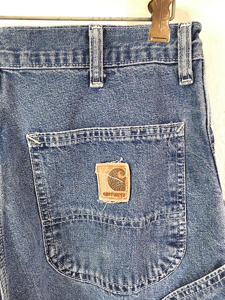 [4] 古着 90s USA製 Carhartt 裏地チェック 防寒 デニム ワーク ペインター パンツ W33 L29.5 古着