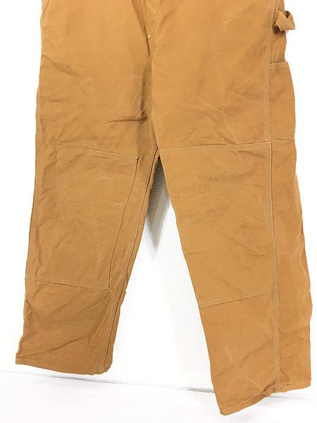[3] 古着 90s USA製 Carhartt ブラウン ダック Wニー ワーク オーバーオール 美品!! W43 L32 古着