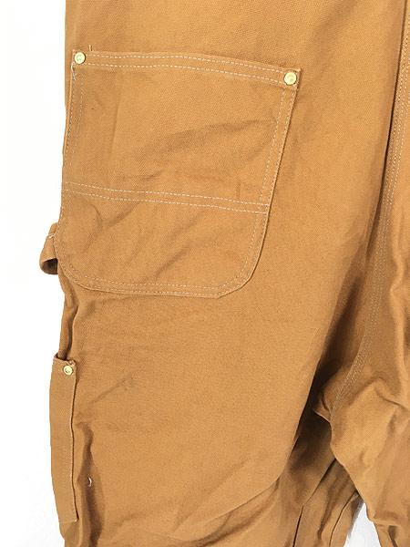 [5] 古着 90s USA製 Carhartt ブラウン ダック Wニー ワーク オーバーオール 美品!! W43 L32 古着
