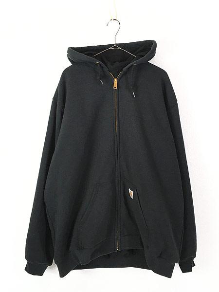 [1] 古着 00s Carhartt 「Rain Defender」 撥水 ヘビー スウェット ジップ パーカー ジャケット 黒 XL TALL 古着