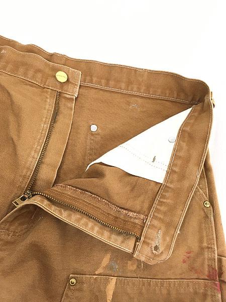[4] 古着 90s USA製 Carhartt Wニー ブラウン ダック ペンキ ペインター ワーク パンツ W35 L29.5 古着