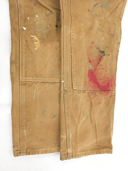 [5] 古着 90s USA製 Carhartt Wニー ブラウン ダック ペンキ ペインター ワーク パンツ W35 L29.5 古着